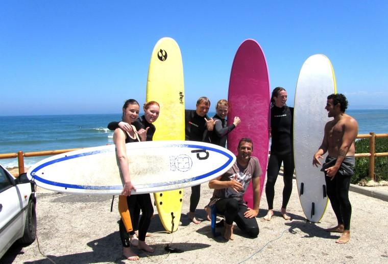 "Our surf crew <3 : Fransiska, Nina, Markus, me, Diogo, Clive aka ""the shark"" and Nuno aka ""the machine""+Vanessa who took the picture"