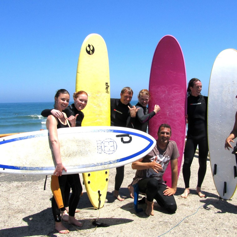 "Our surf crew <3 : Fransiska, Nina, Markus, me, Diogo, Clive aka ""the shark"" and Nuno aka ""the machine""+Vanessa who took the picture"
