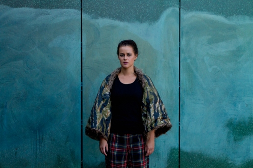 reversible faux fur camo bolero and cotton tartan loose pant